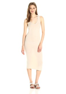 Enza Costa Women's Open Cotton Jersey Bold Racer Tank Midi Dress  S
