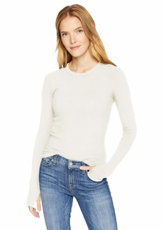 Enza Costa Women's Rib Cropped Long Sleeve Crew with Thumbholes  M