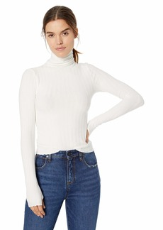 Enza Costa Women's Rib Cropped Long Sleeve Turtleneck  XS