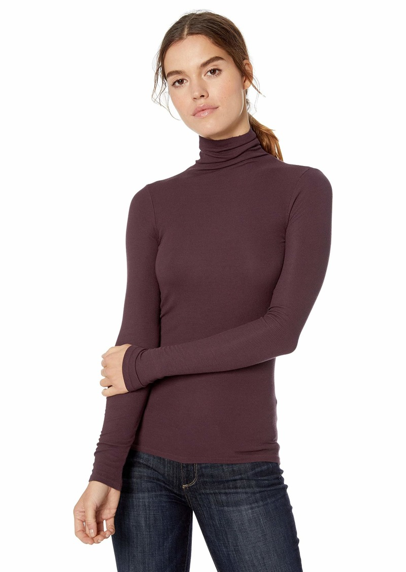 Enza Costa Women's Rib Fitted Long Sleeve Turtleneck Top  M