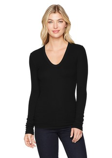 Enza Costa Women's Rib Fitted Long Sleeve U-Neck Top  m
