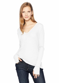 Enza Costa Women's Rib Loose Long Sleeve V-Neck Top  L