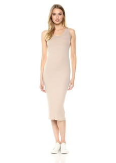 Enza Costa Women's Rib Sleeveless Bold Tank Midi Dress  M