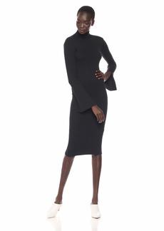 Enza Costa Women's Rib Split Sleeve Turtleneck Midi Dress  M