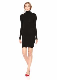 Enza Costa Women's Stretch Silk Rib Long Sleeve Turtleneck Mini Dress  M