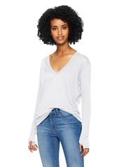 Enza Costa Women's Tissue Jersey Loose Long Sleeve V-Neck  M