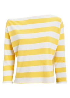 Enza Costa Striped Bateau Jersey Top