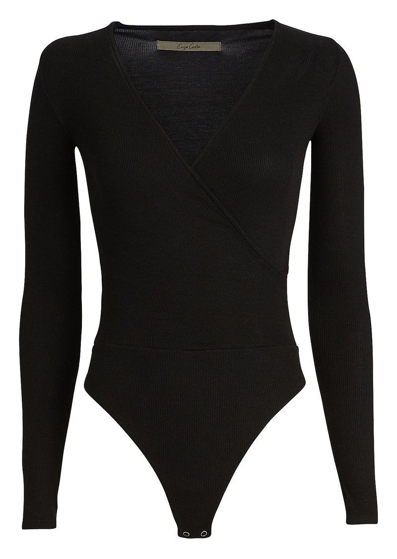 Enza Costa Ribbed Jersey Overlap Bodysuit