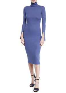 Enza Costa Ribbed Split-Sleeve Turtleneck Midi Dress