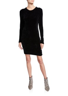 Enza Costa Slim Velour Long-Sleeve Sweatshirt Mini Dress