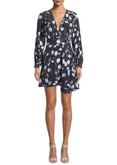 Equipment Alexandria V-Neck Long-Sleeve Abstract Floral-Print Short Dress