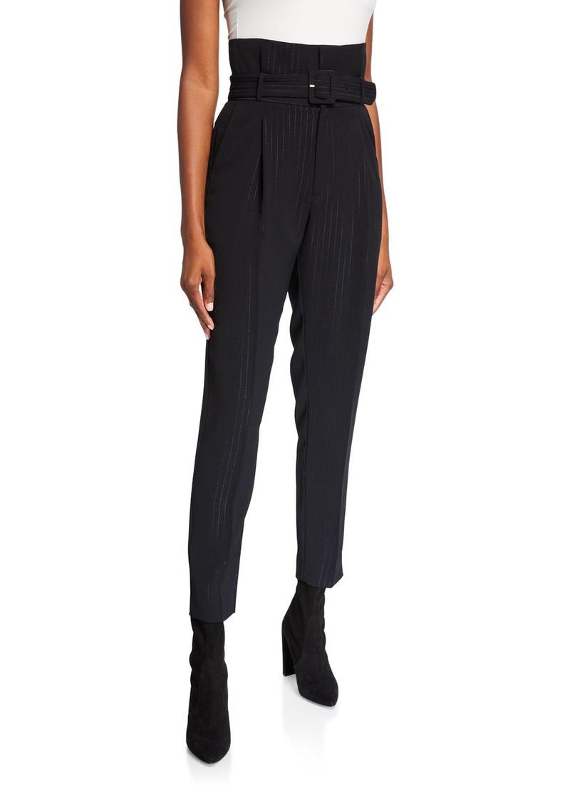 Equipment Alloisa Pinstriped High-Waist Belted Pants