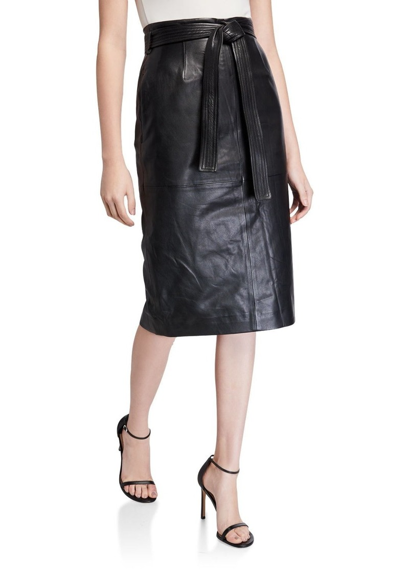 Equipment Alouetta Belted Leather Pencil Skirt