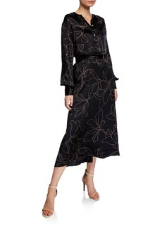 Equipment Alowette Floral-Print Long-Sleeve Silk Midi Dress