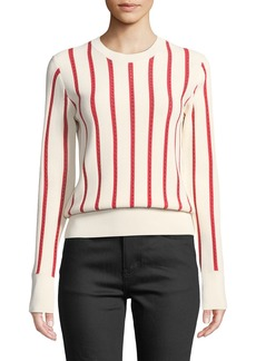 Equipment Amrit Crewneck Long-Sleeve Striped Rib-Knit Sweater