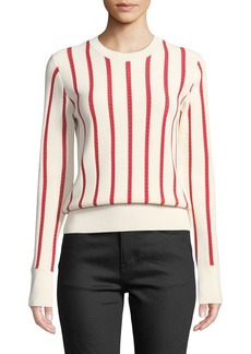 Equipment Amrit Crewneck Long-Sleeve Striped Rib-Knit Sweater