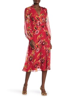 Equipment Andrese Surplice V-neck Waist Belt Printed Silk Dress