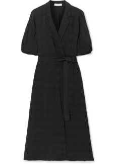 Equipment Anitone Satin-jacquard Wrap Midi Dress