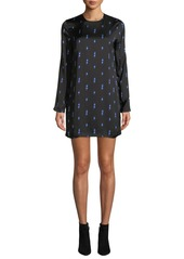 Equipment Anjelisa Jewel-Neck Long-Sleeve Lightning-Bolt Print Shift Dress