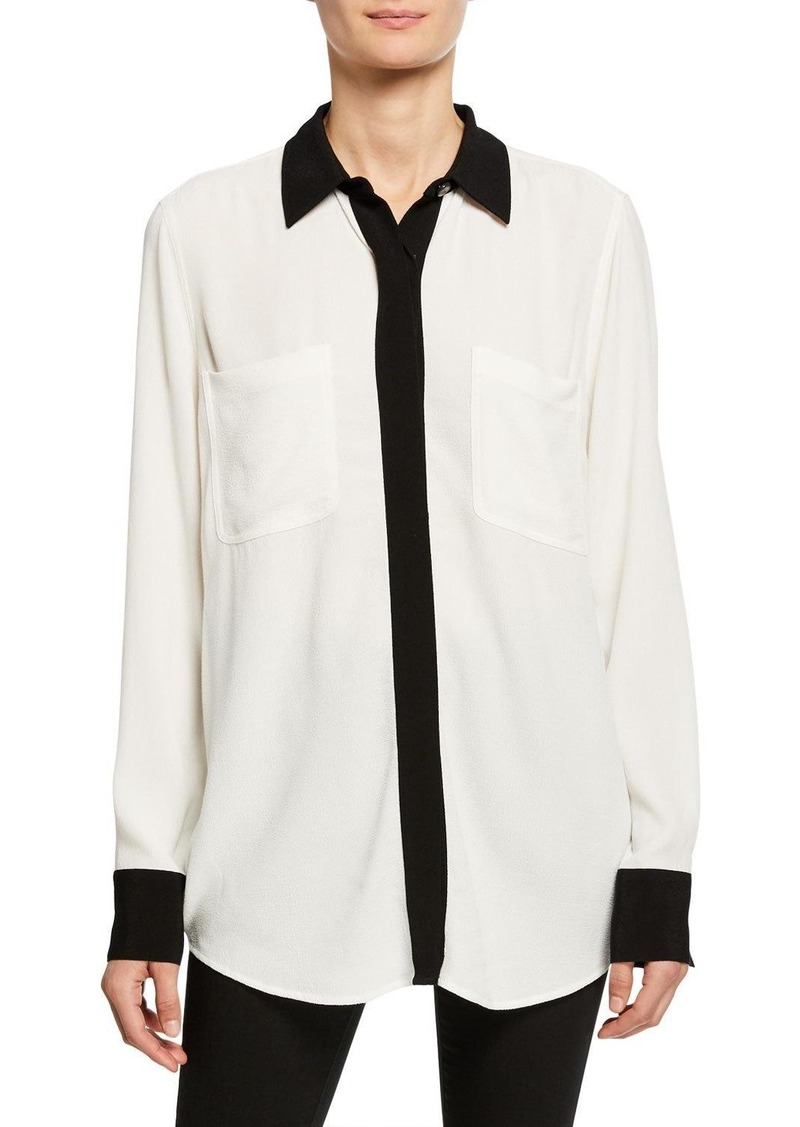 Equipment Austine Contrast-Trim Shirt with Pockets