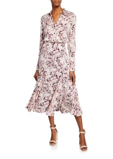Equipment Bancort Printed Button-Front Long-Sleeve Dress