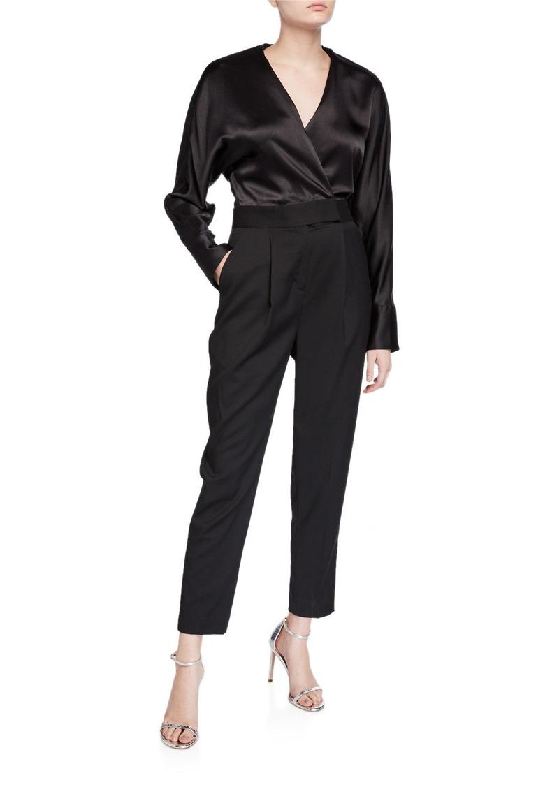 Equipment Carlens Long-Sleeve Satin-Bodice Wool Jumpsuit