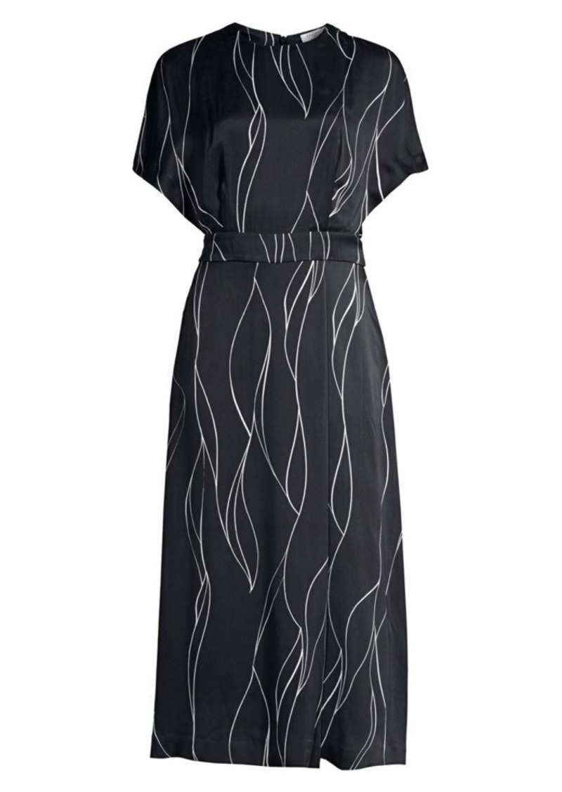 Equipment Chemelle Wave Print Silk-Blend Midi Dress