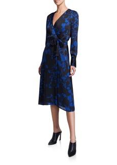Equipment Cherylene Floral Long-Sleeve Midi Wrap Dress