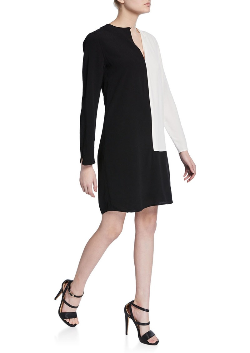 Equipment Claudine Colorblock Long-Sleeve Keyhole Dress