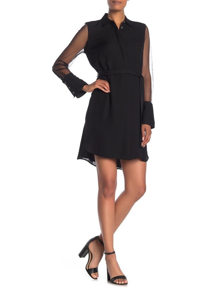 Equipment Clea Mesh Sleeve Silk Shirt Dress