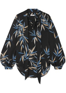 Equipment Cleone Pussy-bow Printed Satin Blouse