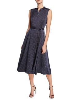 Equipment Clevete Polka-Dot Sleeveless Button-Front Dress