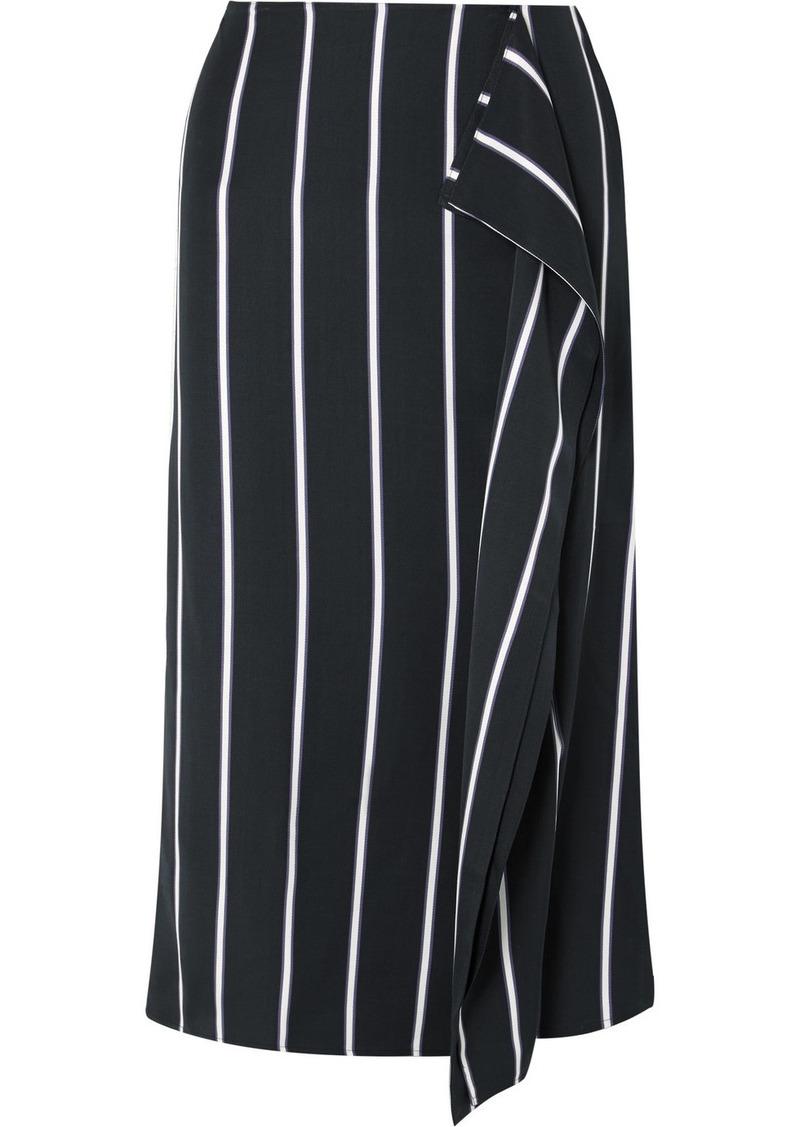 Equipment Climmie Draped Striped Twill Midi Skirt