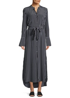 Equipment Connell Excellence Striped Silk Button-Front Maxi Dress