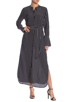 Equipment Connell Stripe Print Waist Tie Silk Maxi Dress