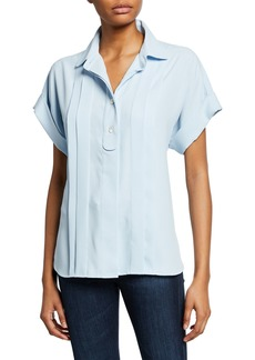 Equipment Dariell Button-Front Short-Sleeve Pleated Top