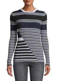 Equipment Desmond Crewneck Long-Sleeve Multi-Striped Merino Wool Sweater