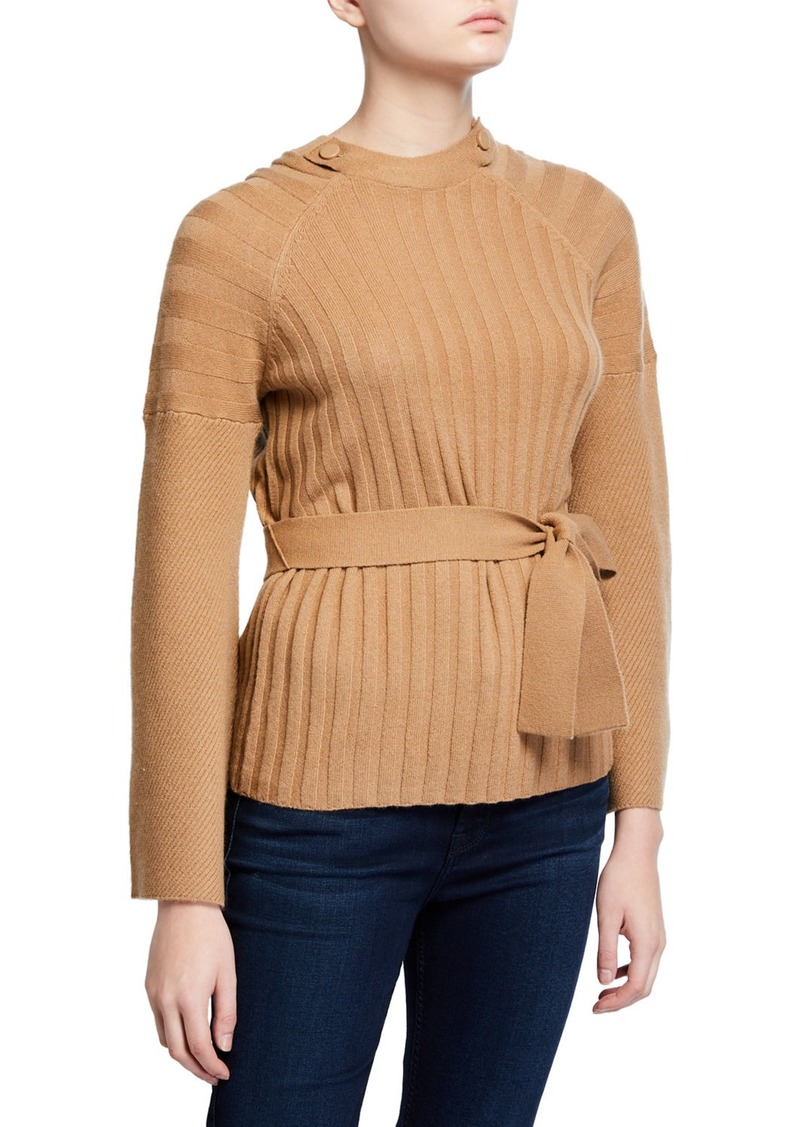 Equipment Dorise Flare-Sleeve Tie-Waist Sweater