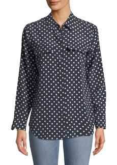 Equipment Dot-Print Button-Front Silk Slim Signature Shirt