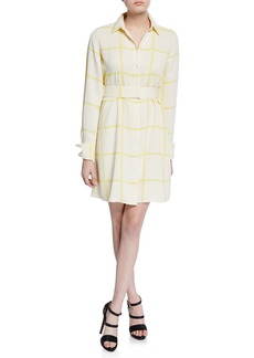 Equipment Edwidge Grid-Print Long-Sleeve Shirtdress