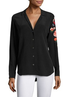 Equipment Adalyn Floral Embroidered Sleeve Blouse