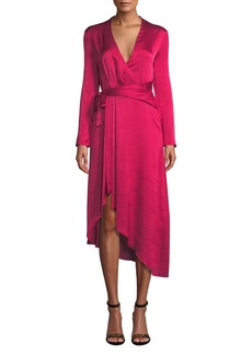 Equipment Adisa Long-Sleeve Wrap Satin Dress