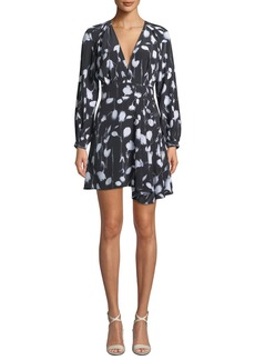 Equipment Alexandria V-Neck Long-Sleeve Abstract Floral-Print Short Dress