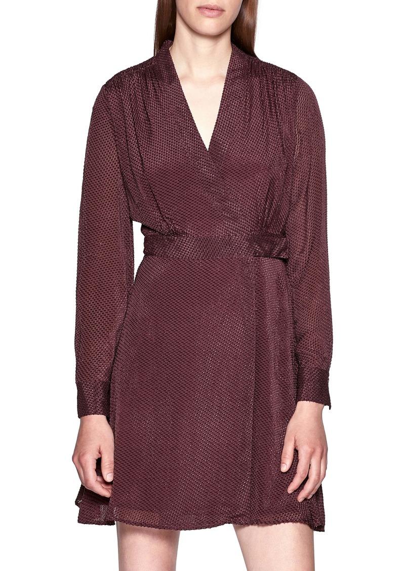 Equipment Allaire Textured Long Sleeve Silk Blend Wrap Dress