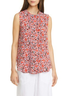 Equipment Amaury Floral Pleated Silk Top
