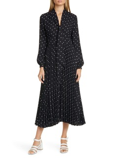 Equipment Amirin Print Tie Neck Long Sleeve Dress