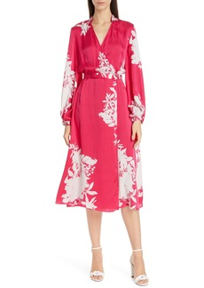 Equipment Andrese Silk Blend Wrap Long Sleeve Dress