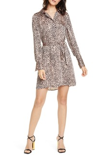 Equipment Animal Print Long Sleeve Satin Shirtdress