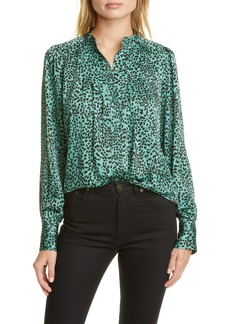 Equipment Animal Print Pintuck Poet Blouse