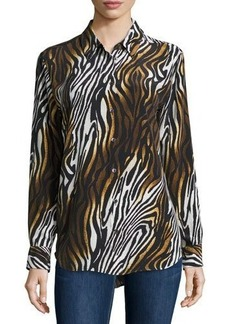 Equipment Animal-Print Silk Blouse